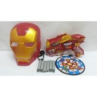Soft Foam Bullet Darts Shoot Gun Pistol + Iron Man Mask + Dart Board