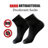 MALAYSIA] SEPASANG STOKIN LELAKI Nano Antibacterial And Deodorant Socks Men's Cotton Seasoning Socks Black ColoR