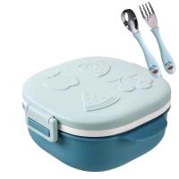 Kid's Lunch Box 304不锈钢儿童餐盘带盖带餐具分格盘便当快餐盒宝宝注水饭盒