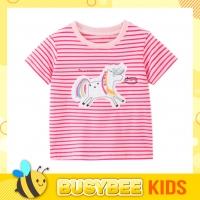 Kids Girl T-shirt 1-10 years old Stripe Short sleeve with unicorn patchworks and embroideries Baju kanak-kanak umur 1-10