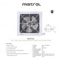 "Mistral 10"" Ceiling Mount Ventilation Fan MVF101"