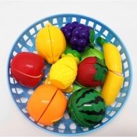 LITTLE KITCHEN FUN CUTTING FRUITS PLAYSET IN BASKET FOR KIDS