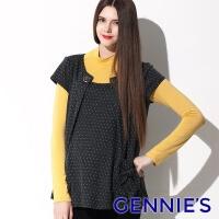 (gennies)Gennies Fully Round-neck Pleated Top (Dark Grey C3414)