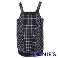 (gennies)Gennies Fashion Classic Check Long Shoulder Top (Dark Blue / Grey / Houndstooth Pattern C3451)