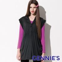 Gennies Qini take the actual wear cotton T-shirt (purple / gray C3401)
