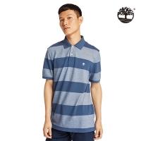 (timberland)Timberland Men's Denim Blue Striped Oxford Woven Single Polo Shirt | A2B5PG66