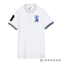 (giordano)GIORDANO Men's Victory Lion Embroidered POLO Shirt-27 Logo White