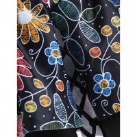 Flower Lace Up Open Shoulder Swimsuit (Black)