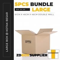Kotak 5pcs 61cm x 46cm x 46cm Double Wall Stitch Plain Carton Box - Large