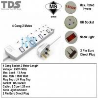 TDS Trailing Socket Extension Socket 4 Gang 2M/5M - TS-S714