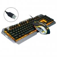 Wired Backlit Luminous Ergonomic USB Gaming Keyboard Optical Gamer Mouse V1 (Golden)