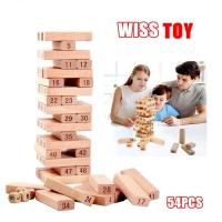 MALAYSIA] PERMAINAN BLOK KAYU / SUSUN BANGUNAN/ 54 Pieces Number Wooden Tower Stacking Game