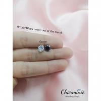 Pure Sliver 925 White/Black studs earrings(6mm)-Charminie