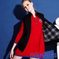 (Gennies)Gennies Chini POLO Academy Style Fashion Sleeve Sleeve Dress - Black (GSY04)