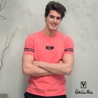 (Valentino Rudy)Valentino Rudy Van Loren. Ludi - Breathable Comfort Odile T-Shirt - Double Sleeve Stripe - Orange