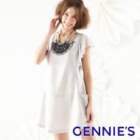 (gennies)Gennies Qini light and elegant simple spring and summer dress (gray / black G1122)