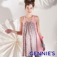 (gennies)Gennies qini elegant flower language stitching sleeveless long top (pink/blue-green G3102)