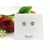 Pure Sliver 925 Black Sliver Star Earrings-Charminie