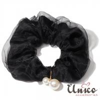 (UNICO)UNICO Korea Simple Pure Color Mesh Large Intestine Circle/Hair Circle-Black