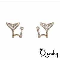 (Quenby)Quenby 925 sterling silver Korean Dongdaemun popular simple fishtail diamond earrings/earrings