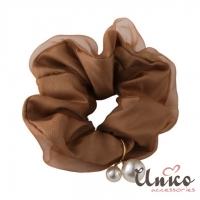 (UNICO)UNICO Korea Simple Pure Color Mesh Large Intestine Circle/Hair Circle-Champagne Coffee