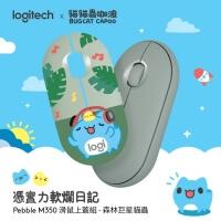 (Logitech)Logitech X Cappo M350 Mouse Cover Set-Forest Superstar Cat Worm (Mint Green)