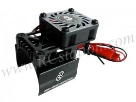 Extended Motor Heat Sink W/ Fan Ver.2 For 540 Motor (High Finger) - Black #3RAC-MHS7/BL/V2