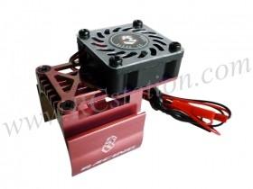 Extended Motor Heat Sink W/ Fan Ver.2 For 540 Motor (High Finger) - Red #3RAC-MHS7/RE/V2