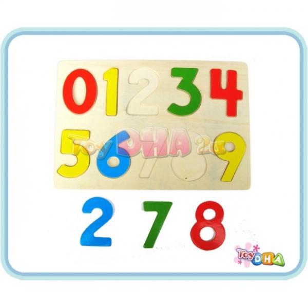 Wooden Toy - Puzzle 0-9 Rainbow