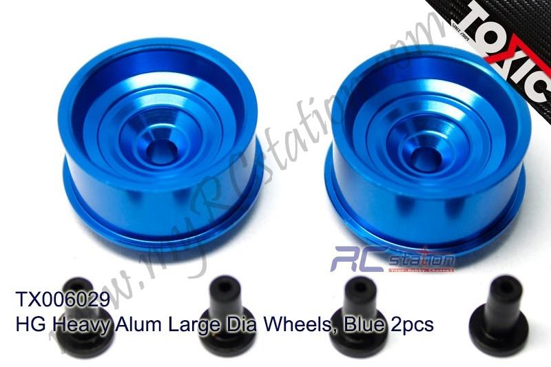HG Heavy Alum Large Dia Wheels, Blue 2pcs  #TX006029