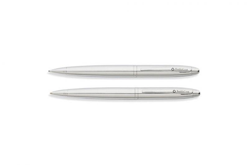 Franklin Covey FC0012-2 & FC0011-2 Lexington Shiny Chrome CT Ballpoint Pen & Pencil Set