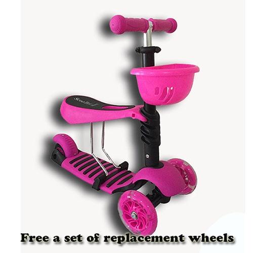 (Premium Grade) Baby/Kids 3-in-1 Kick Scooter/Glider/Kickboard (Free 3 Scooter Wheels)