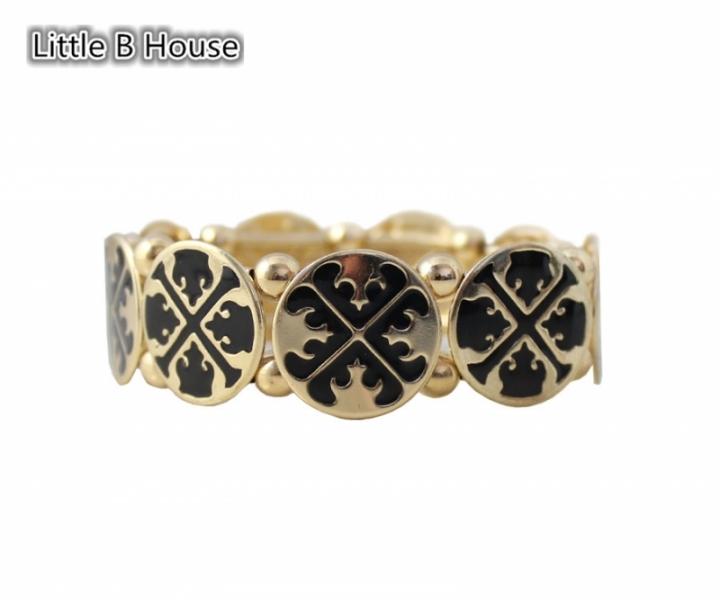Black & Gold Colour Chinese Style Alloy Bracelet 15cm - BC104