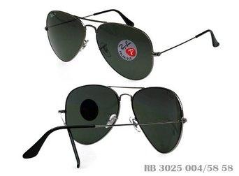Ray-Ban 3025 RB3025 Polarized 004/58 Gunmetal Aviator 58mm Sunglasses