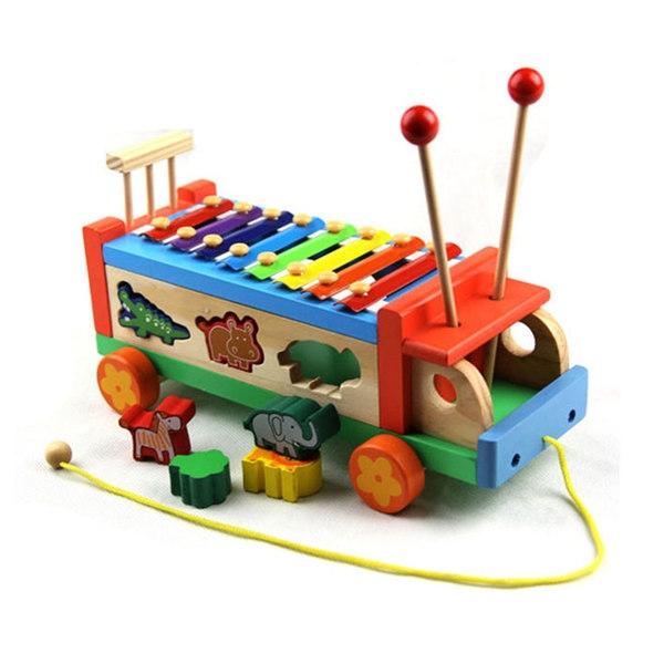 Wooden Multifunctional Tractors Serinette Toddler Glockenspiel Xylophone -BKM34
