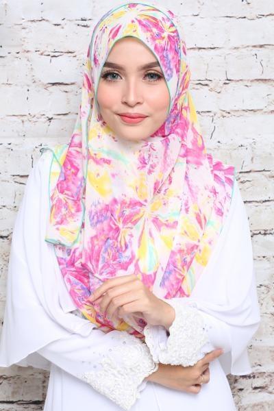 Instant Shawl Marsya Dwi Muka Yellow Pink