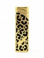 Elegant Black & Gold Heart Shaped Carved Metal Honest Lighter