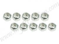 4mm Aluminum Lock Nuts (10 Pcs) - Silver #3RAC-N40/SI