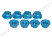 4mm Aluminum Locknut Serrated (8pcs) - Light Blue #3RAC-NS40/LB