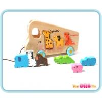 Wooden Toy - Animals School Bus