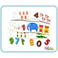 Wooden Toy - British Card Number Animals