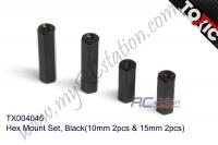 Hex Mount Set Black (10mm 2pcs & 15mm 2pcs)  #TX004045