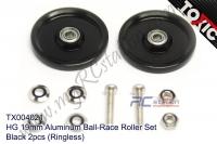 HG 19mm Aluminum Ball-Race Roller Set, Black 2pcs (Ringless) #TX004021