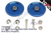 HG 19mm Aluminum Ball-Race Roller Set, Blue 2pcs (Ringless) #TX004019