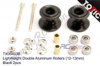 LighWeight Double Aluminum Rollers (12-13mm), Black 2pcs  #TX004038