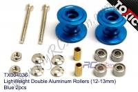 LighWeight Double Aluminum Rollers (12-13mm), Blue 2pcs  #TX004036