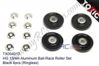 HG 13mm Aluminum Ball-Race Roller Set, Black 4pcs (Ringless)  #TX004013