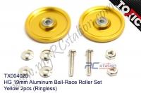 HG 19mm Aluminum Ball-Race Roller Set, Yellow 2pcs (Ringless) #TX004023