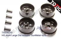 HG Alum Large Dia Wheels, GunMetal 4pcs  #TX006010