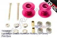 LighWeight Double Aluminum Rollers (12-13mm), PINK 2pcs  #TX004051